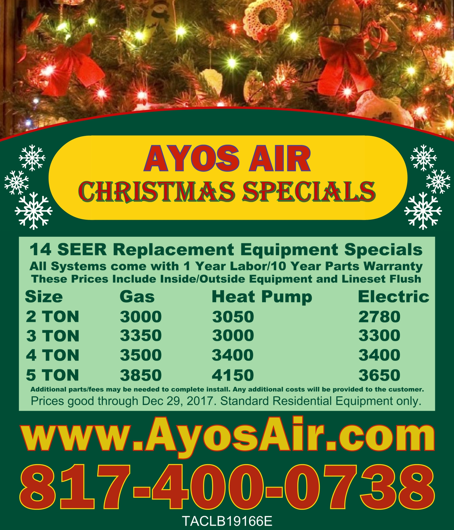 Christmas equipment specials with info